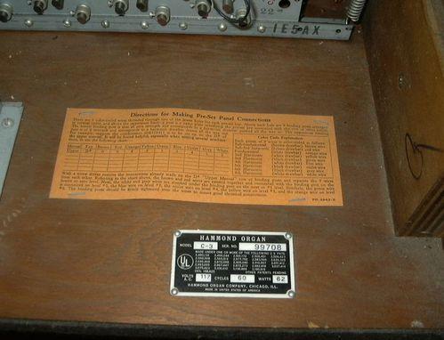 Hammond C3 (walnut) serial number