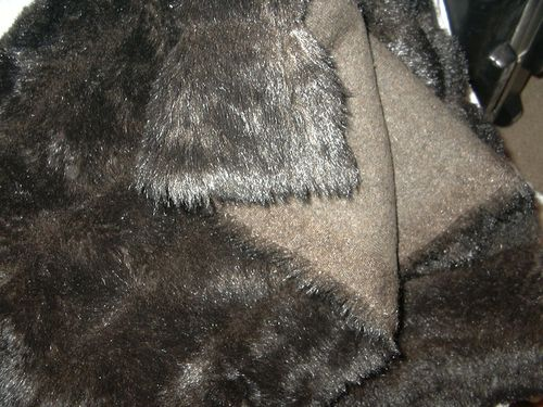 FABRIC: FAUX MINK, BROWN, DETAIL