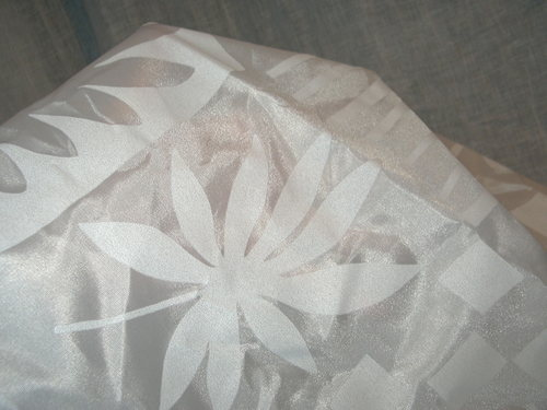 FABRIC: SHEER WHITE ON WHITE LEAF PATTERN