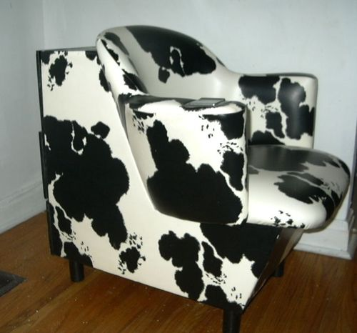 FURNITURE - RETRO FAUX COWHIDE SALON CHAIR